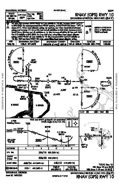 Savannah/Hilton Head Intl Savannah, GA (KSAV): RNAV (GPS) RWY 10 (IAP)