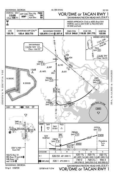 Savannah/Hilton Head Intl Savannah, GA (KSAV): VOR/DME OR TACAN RWY 01 (IAP)