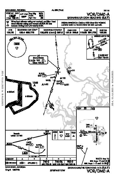 Savannah/Hilton Head Intl Savannah, GA (KSAV): VOR/DME-A (IAP)