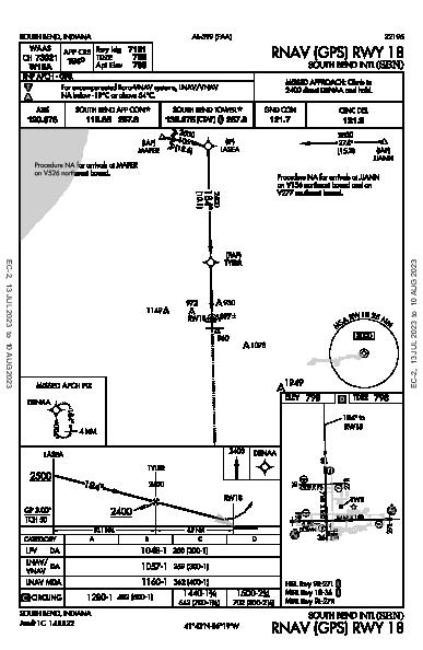 South Bend Intl South Bend, IN (KSBN): RNAV (GPS) RWY 18 (IAP)