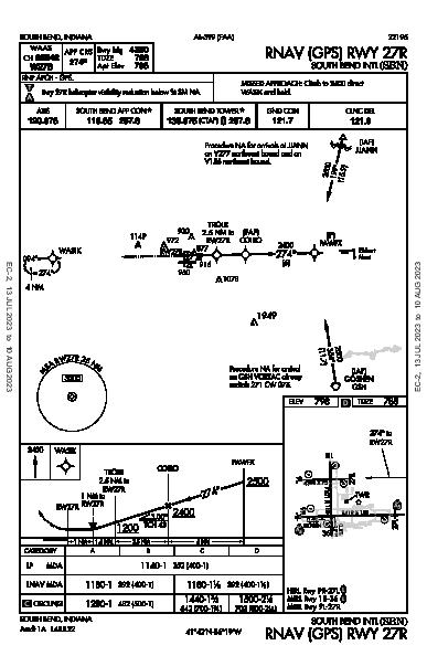 South Bend Intl South Bend, IN (KSBN): RNAV (GPS) RWY 27R (IAP)