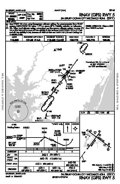Salisbury Rgnl Salisbury, MD (KSBY): RNAV (GPS) RWY 05 (IAP)