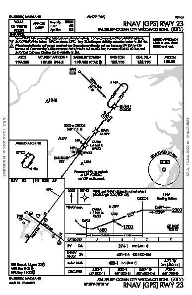 Salisbury Rgnl Salisbury, MD (KSBY): RNAV (GPS) RWY 23 (IAP)
