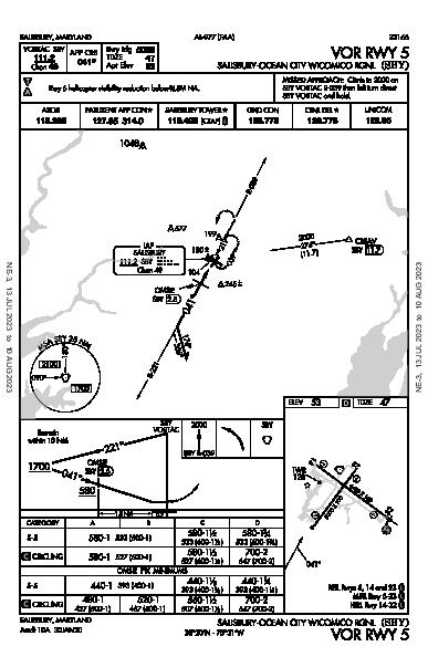Salisbury Rgnl Salisbury, MD (KSBY): VOR RWY 05 (IAP)