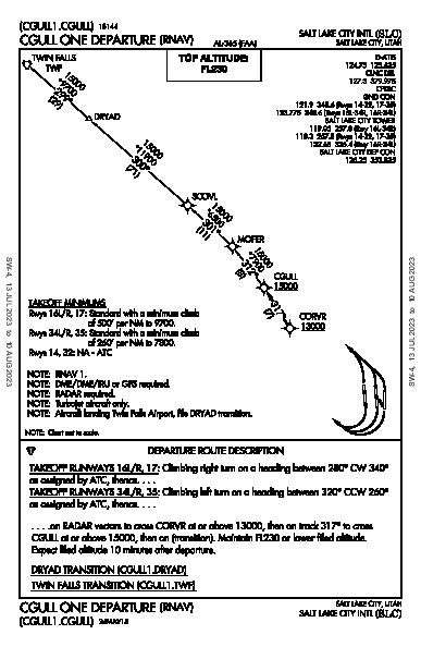 Salt Lake City Intl Salt Lake City, UT (KSLC): CGULL ONE (RNAV) (DP)