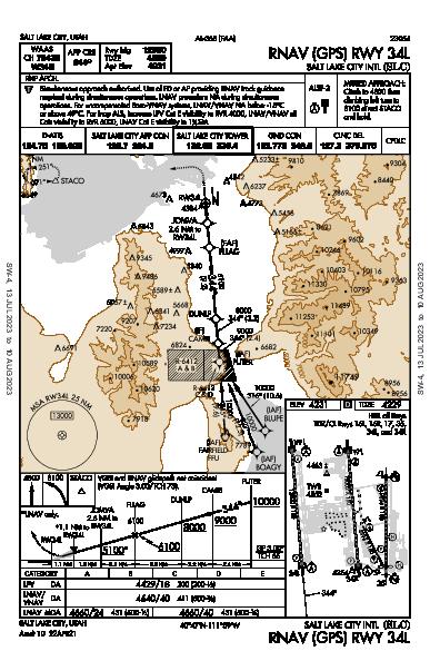 Salt Lake City Intl Salt Lake City, UT (KSLC): RNAV (GPS) RWY 34L (IAP)