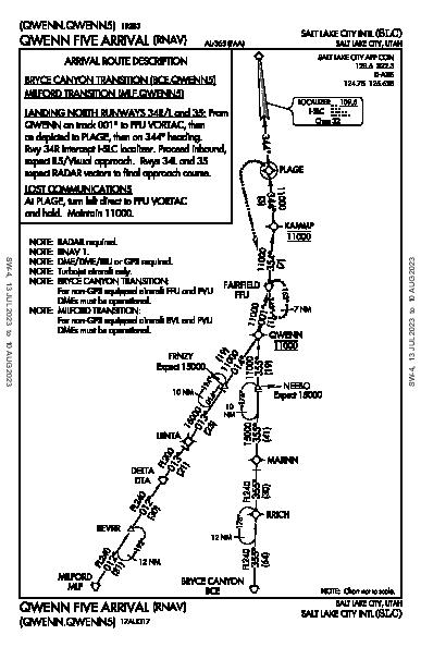 Salt Lake City Intl Salt Lake City, UT (KSLC): QWENN FIVE (RNAV) (STAR)