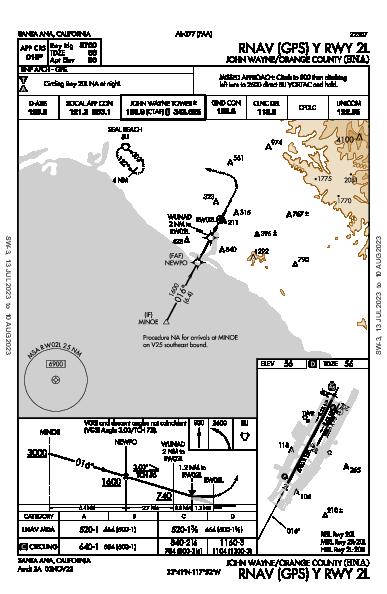 John Wayne Santa Ana, CA (KSNA): RNAV (GPS) Y RWY 02L (IAP)