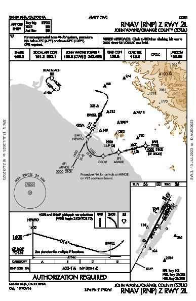 John Wayne Santa Ana, CA (KSNA): RNAV (RNP) Z RWY 02L (IAP)