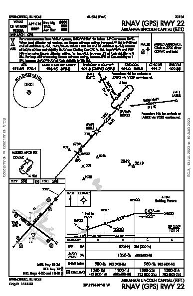 Abraham Lincoln Capital Springfield, IL (KSPI): RNAV (GPS) RWY 22 (IAP)