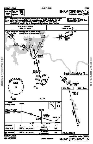 Sherman Muni Sherman, TX (KSWI): RNAV (GPS) RWY 16 (IAP)