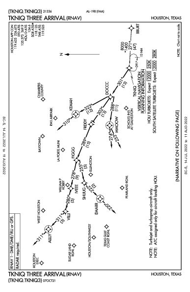 La Porte Muni La Porte, TX (T41): TKNIQ THREE (RNAV) (STAR)