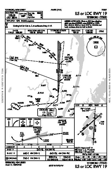 Teterboro Teterboro, NJ (KTEB): ILS OR LOC RWY 19 (IAP)