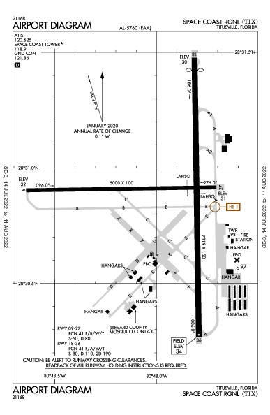 Space Coast Rgnl Titusville, FL (KTIX): AIRPORT DIAGRAM (APD)