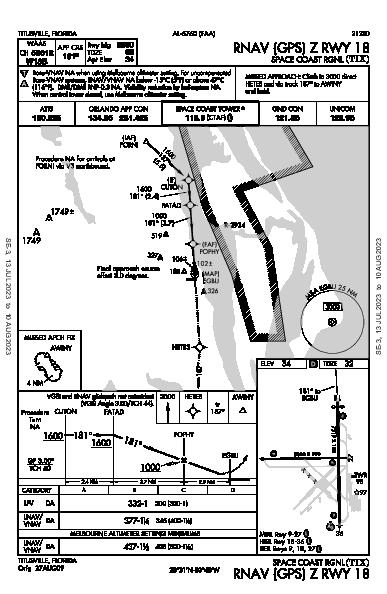 Space Coast Rgnl Titusville, FL (KTIX): RNAV (GPS) Z RWY 18 (IAP)