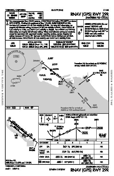 Zamperini Fld Torrance, CA (KTOA): RNAV (GPS) RWY 29R (IAP)