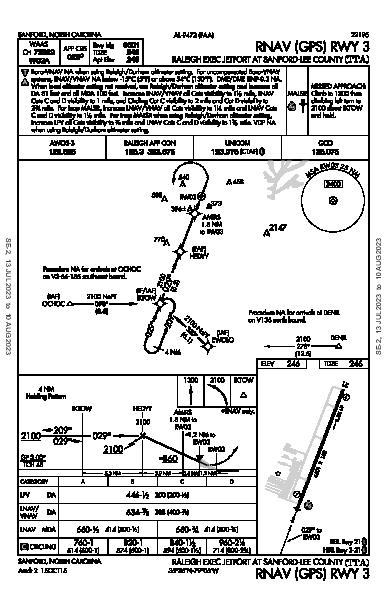 Raleigh Exec Jetport At Sanford-Lee County Sanford, NC (KTTA): RNAV (GPS) RWY 03 (IAP)