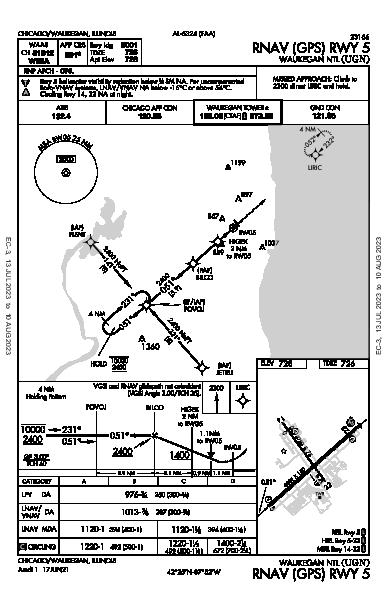Waukegan Ntl Chicago/Waukegan, IL (KUGN): RNAV (GPS) RWY 05 (IAP)