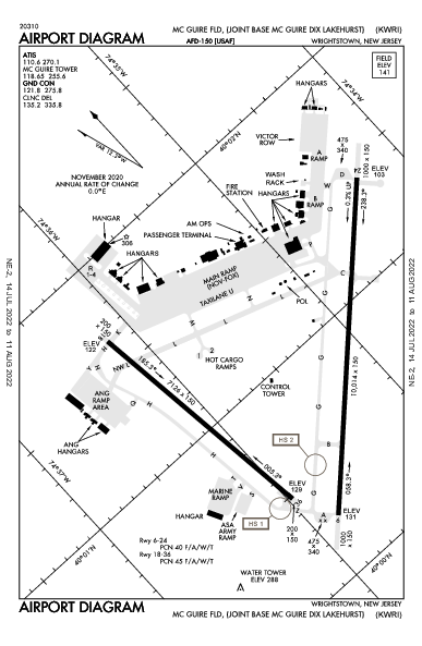 Mc Guire Fld (Joint Base Mc Guire Dix Lakehurst) Wrightstown, NJ (KWRI): AIRPORT DIAGRAM (APD)
