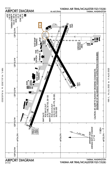 Yakima Air Terminal  Yakima, WA (KYKM): AIRPORT DIAGRAM (APD)